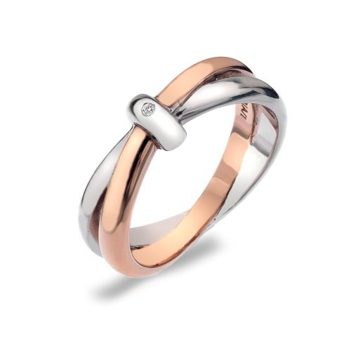 Hot Diamonds Rose Gold Plated Sterling Silver Interlocking Ring